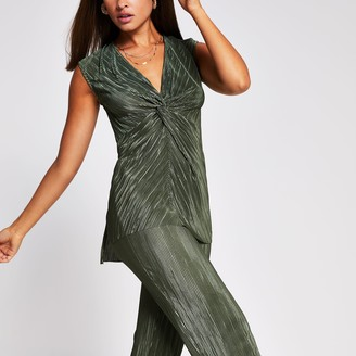 River Island Womens Green knot front tunic