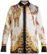 Versace Native American-print sheer-silk shirt