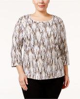 Karen Scott Plus Size Ikat-Print Top, Only at Macy's