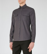 Reiss Reiss Renoir - Twill Cotton Shirt In Grey