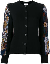 Barrie puff sleeve embroidered cardigan