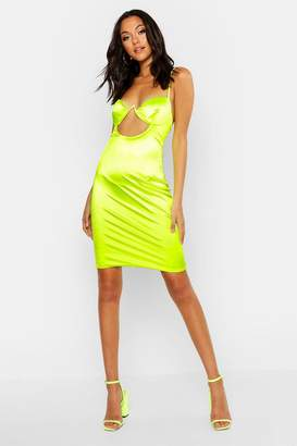 boohoo Tall Satin Cut Out Detail Cupped Bodycon Dress