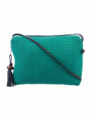 Bottega Veneta Vintage Leather-Trimmed Raffia Crossbody Bag Green