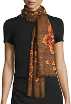Neiman Marcus Mirrored Floral Print Scarf, Brown Multi