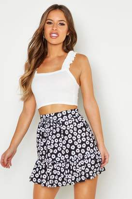 boohoo Petite Tie Waist Ruffle Skater Skirt