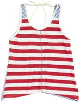 Pink Chicken Striped Anna Top (Toddler/Kid)-Tomato/Riviera-9/10 Years