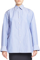 Balenciaga Striped Taffeta Pinch-Back Shirt, Blue/White