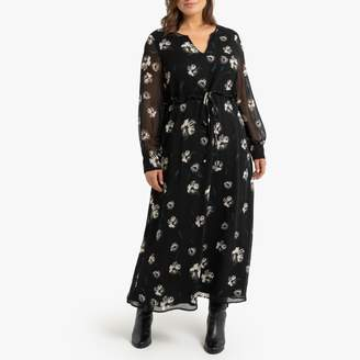 La Redoute Collections Plus Floral Print Maxi Dress with Long Sleeves and Tie-Waist