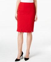 Kasper Stretch-Crepe Pleated Straight Skirt