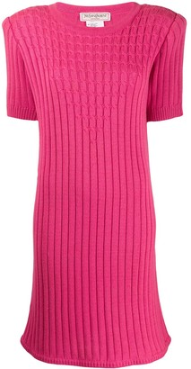 Yves Saint Laurent Pre Owned 1980's Cable Knit Ribbed Dress