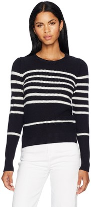 Cupcakes And Cashmere Women's Pardee Crew Neck Striped Shoulder Button Sweater