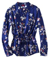 Merona® Womens Plus-Size Long-Sleeve Front-Tie Blouse - Navy Floral