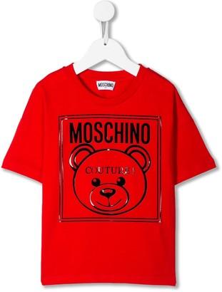 MOSCHINO BAMBINO logo print short sleeve T-shirt