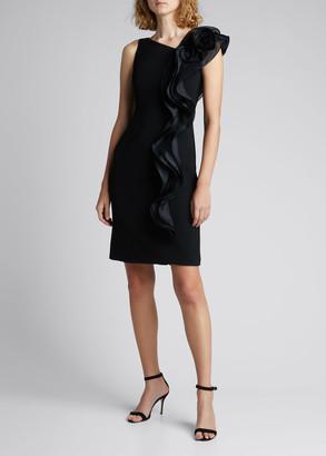 Rickie Freeman For Teri Jon Asymmetric Neck Sleeveless Crepe Dress w/ Side Ruffle