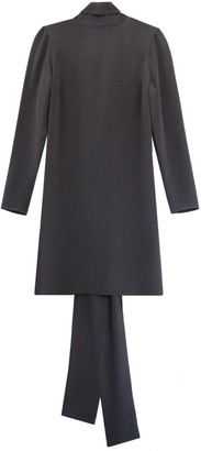 Not Grey Silk Long Sleeve Dress With Back Loop Detail
