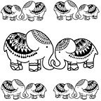 Set of 2 Waterproof Temporary Fake Tattoo Stickers Vintage Black Elephant Animals Design