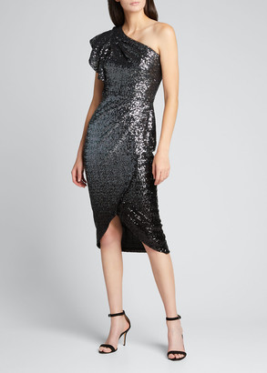 Marchesa Notte Ombre Sequin One-Shoulder Flutter-Sleeve Dress