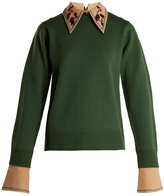 Muveil Detachable-collar round-neck wool-blend sweater