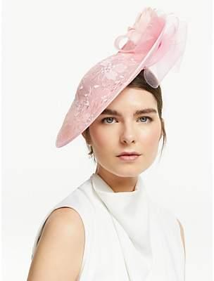 John Lewis & Partners Jennifer Side Disc Floral Occasion Hat, Chalk Pink