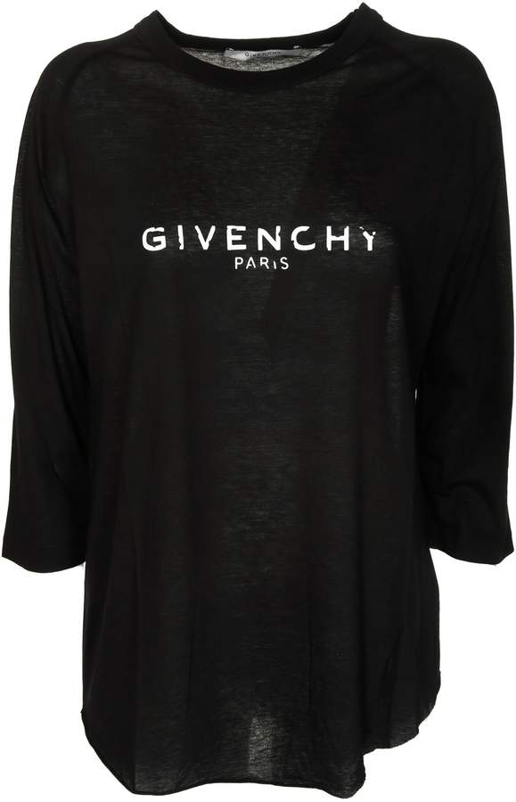 Givenchy Distressed Logo Long-sleeved T-shirt