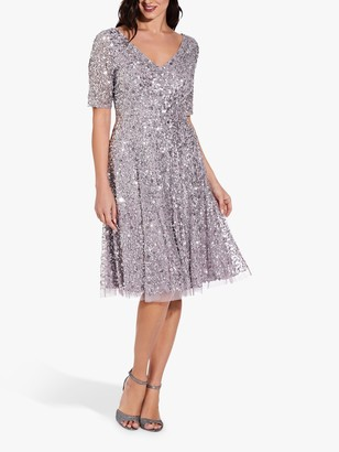 Adrianna Papell Flared Knee Length Beaded Dress, Lilac/Grey