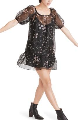 Madewell Polka Daisies Puff Sleeve Ruffle Hem Silk Organza Minidress