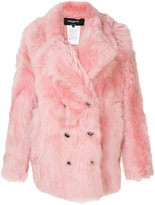 Rochas double-breasted coat - women - Cotton/Lamb Fur - 40