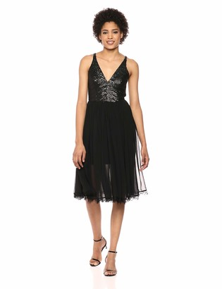 Dress the Population Women's Tracy Sequin and Chiffon FIT & Flare Sleeveless MIDI Dress