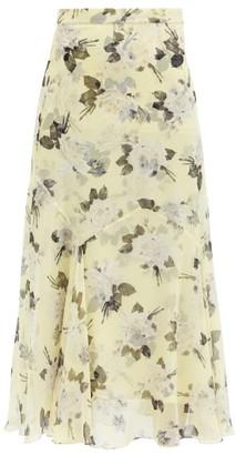 Erdem Shea Rose-print Silk-chiffon Midi Skirt - Yellow Print