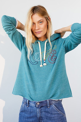 Sol Angeles Love Cropped Hoodie By in Blue Size XS