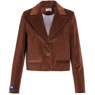Allora Brown Cropped Corduroy Blazer