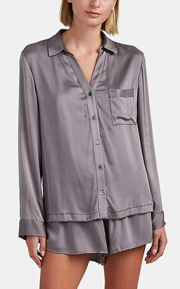 Skin Women's Teresa Stretch-Silk Pajama Top - Brown