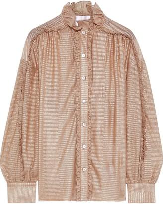 Antik Batik Aurele Ruffle-trimmed Metallic Striped Georgette Blouse