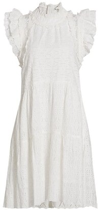 Sea Flutter-Sleeve Eyelet Midi Dress