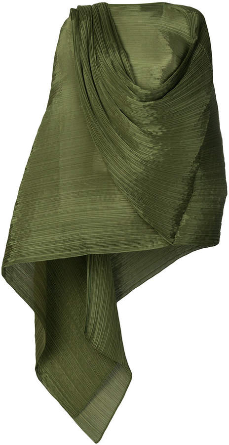 Pleats Please Issey Miyake pleated draped blouse