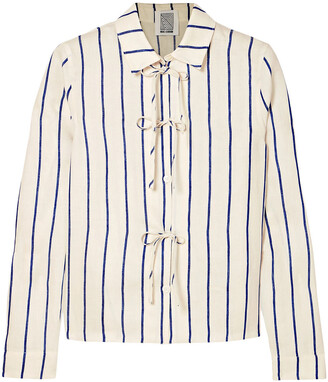 Rosie Assoulin Bow-detailed Striped Cotton-blend Jacquard Shirt