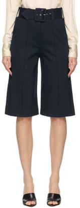 Victoria Victoria Beckham Navy Jersey Belted Shorts