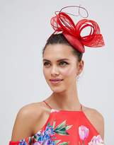 Vixen Macaroon Shape Hat with Patterned Sinamay Detail in Red