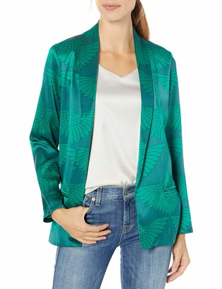 Majestic Filatures Women's Cotton/Cashmere/Silk Crane Print Open Blazer