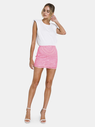 Endless Rose Beads Embroidered Mini Skirt