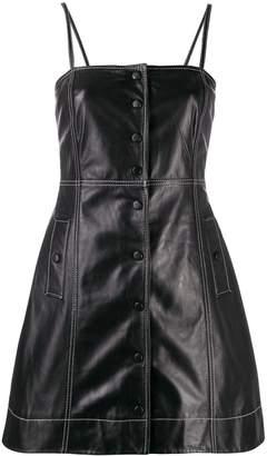 Ganni contrast stitching leather mini dress
