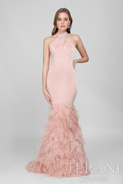 Terani Evening - Crisscrossed Feather Fringed Mermaid Gown 1721E4185