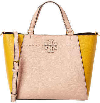 Tory Burch Mcgraw Colorblocked Leather Small Carry All Tote