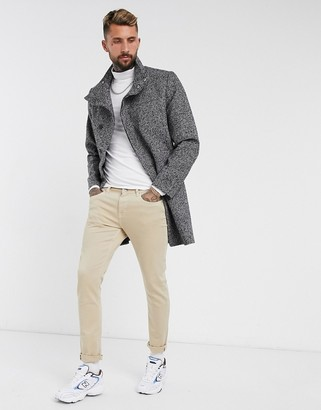 ASOS DESIGN wool mix overcoat with funnel neck in salt and pepper