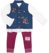 Little Lass Blue Denim Floral Vest Three-Piece Set - Infant