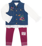 Little Lass Blue Denim Floral Vest Three-Piece Set - Toddler & Girls
