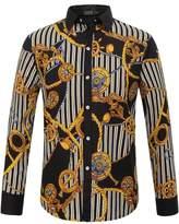 SSLR Men's Rock Style Striped Long Sleeve Shirt (, Black Yellow 2)
