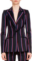 Altuzarra Striped Wool-Blend One-Button Jacket, Navy/Red