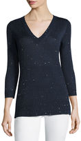 Neiman Marcus 3/4-Sleeve Sequin V-Neck Pullover