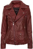 BLK DNM Burgundy Leather Motorcycle Jacket